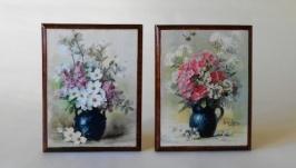 Два панно ′Букет весенних цветов′