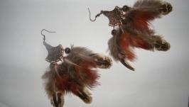 Серьги из перьев Полет на закате