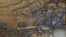 Деревянное декоративное панно ′Приморский город′. Размер 45х23 см