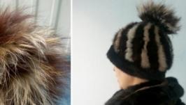 Шапка  зимняя натуральный мех норка енот чернобурка песец