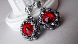 Серьги с кристаллами Сваровски  Red in steel
