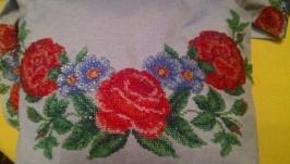 Модная вышиванка-торба с вышивкой бисером