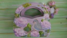 Подставка деревянная, Птичка в цветах, ручная роспись