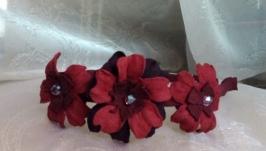 Ободок с цветами, замшевое украшение для волос