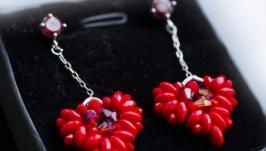 Серьги сердце красные цирконы подарок любимой