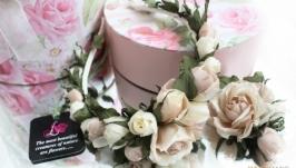 Комплект украшений из шелковых роз «Нимфа»