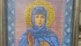 Икона Св. Ангелины вышитая бисером