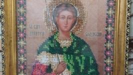 Икона Св. Димитрия вышитая бисером