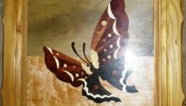 Картина ′Бабочка′ из дерева разных пород в технике Marquetry!