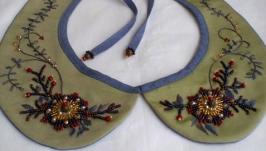 Воротник с вышивкой бисером и мулине
