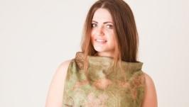 Блуза женская валяная ′Тихий омут′. Нуновойлок. Эко принт
