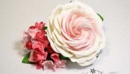 Заколка с розой и розовой гортензией