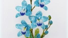 Голубая орхидея из бисера.