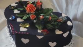 Подарочная коробочка - шкатулка Сердечко с розой