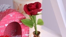 Темно-красная роза в деревянной вазочке