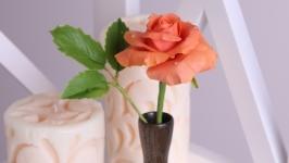 Коралловая роза в деревянной вазочке