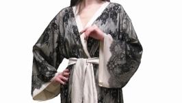 Шелковый халат кимоно с кружевом