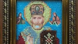 Продам картину вышитую бисером формата А6 Икона Николая Чудотворца