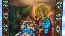 Продам картину вышитую бисером Икону «Целительница»