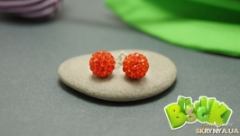 Серьги в стиле Шамбала «Оранжево-красный» 10 мм