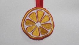 Аплікація вишита  - лимон