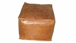 Бескаркасный кожаный пуф