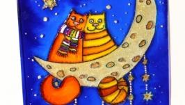Картина на стекле Коты на луне