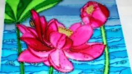 Картина на стекле Лотос