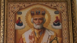 Картина вышитая крестиком ′Николай Чудотворец′