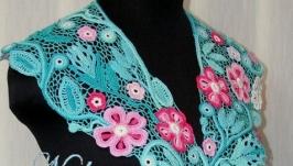 Воротник-украшение ′Розовые цветы′. Ирландское кружево