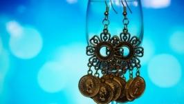 Серьги Цыганские монетки в золотом цвете