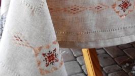 Скатертина лляна ′Янтар′ з вишивкою шовком та мережками