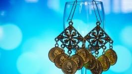 Серьги Цыганские монетки в золотом цвете (комплект из 3 шт)