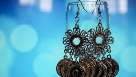 Серьги Цыганские монетки в серебряном цвете