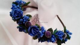 Обруч з трояндами (синій)