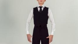 Юниоровский мужской костюм для бальных танцев. Жилет и брюки
