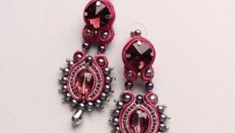 Серьги сережки сутажные с кристаллами