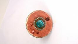 Кольцо круглое с голубым агатом