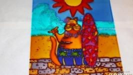Картина на стекле Кот на море