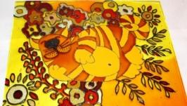 Картина на стекле Спящий рыжий кот