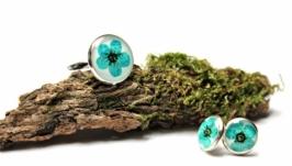Кольцо и серьги гвоздики ′Изумруд′