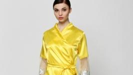 Дизайнерский халат, желтый и темно-бирюзовый, one size SM, атлас, OlaNoche