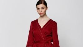 Дизайнерский халат, бордовый, розовый, one size XSS, коттон, OlaNoche