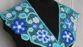 Воротник ′Бирюзовый. Синие цветы′. Ирландское кружево.