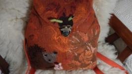 Валяна сумка-рюкзак Їжачок