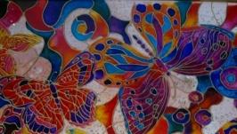 Картина ′Бабочки′. Витраж.