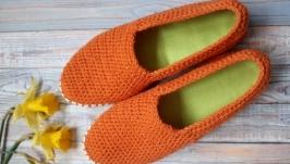 Вязаные слипоны, мокасины, вязаная обувь на заказ