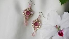 Серьги ′Розовый лед′