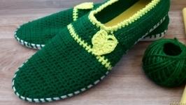 Вязаные слипоны ′Мохито′, мокасины, вязаная обувь на заказ