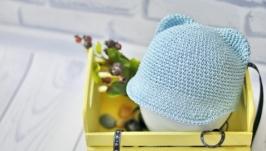 Летняя кепка из рафии с ушками мишки